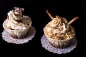 Chocolate Cupcakes with walnut and chocolate — Stock Photo