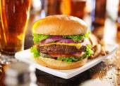 Beer and burger — Stock Photo