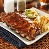 Bbq ribs with cole slaw — Stock Photo