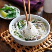 Bowl of pho with beef — Stock Photo