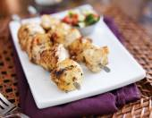 Two grilled chicken skewers — Stock Photo