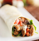 Chicken wrap in tortilla with sauce — Stock Photo