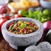 Fire roasted corn and black bean salsa — Stock Photo