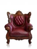 Old styled brown vintage armchair isolated, clipping path. — Stock Photo