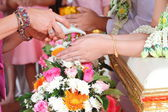 Hands pouring blessing water into bride's hands — Stock Photo