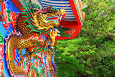 Chinese dragons statue on the wall.  — Foto Stock