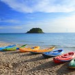 Colorful boats on the tropical beach. — Stock Photo #57114127