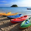 Colorful boats on the tropical beach of Thailand. — Stock Photo #58395691