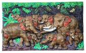 Low relief cement Thai style handcraft of elephant. — Stock Photo