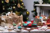 Christmas various gingerbread cookies, cakes, cupcakes. — Photo