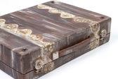 Vintage brown suitcase on white background — Stock Photo