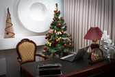 Antique desk in the New Year decorations — Stock Photo