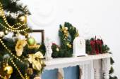 Interior with Christmas decorations. Living room — Stock Photo