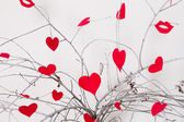 Red hearts hanging on a tree branch. Valentines Day — Foto de Stock