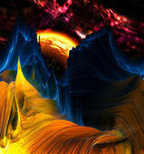 Alien Mountains with space background — Stockfoto