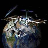 Earth Satellite Space Station — Stock Photo