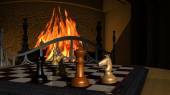 Chess Game illustration in front of a fireplace — Stock Photo