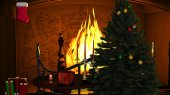 Christmas Tree with Gifts and Candles near Fireplace  — Foto de Stock