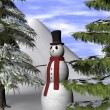 Christmas Background with a Snowman and fir trees — Stock Photo #59554981