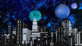 Night Futuristic City with three Planets and Stars — Stock Photo