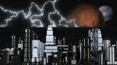 Night Futuristic City with two Planets and Stars — Stock Photo