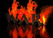 Grunge Metallic Letters write WAR in Flames — Stock Photo