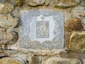 Ancient Greek Virgin Mary picture on the Stone Wall — Stok fotoğraf