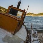 Abandoned Fishing Trawler on beach, Alonissos, Greece — Stock Photo #68453737