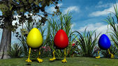 Easter Eggs with Legs in the meadow — Stock Photo
