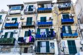 Building exterior with windows and balconies in Palermo, Italy — Stock Photo