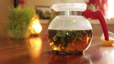Teapot with healthy tea — Stock Video
