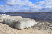 Ledová tříšť na řece — Stock fotografie