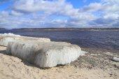 Ice drift on the river — Stok fotoğraf