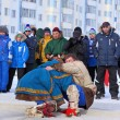 Men are engaged in fight in national Nenets clothes — Stock Photo #67902031