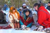 Nenets sell frozen fish — Stock Photo