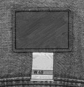 Étiquette en cuir sur les jeans — Photo