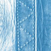 Fragment of  blue leather jacket — Stock Photo