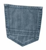 Gray-blue jeans back pocket — Stock Photo
