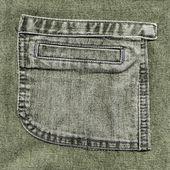 Pocket on gray-green jeans — Stock Photo