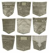 Set of gray-green jeans back pockets isolated on white — Stock Photo