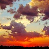 красивый пейзаж с закатом — Стоковое фото