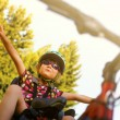 Little girl in the seat bicycle — Stock Photo #59459643