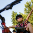 Little girl in the seat bicycle — Stock Photo #59459873
