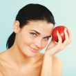 Beauty holding  apple while isolated — Stock Photo #65814911