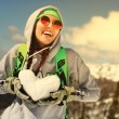 Portrait of young snowboarder girl — Stock Photo #73030835