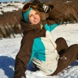 Portrait of young snowboarder girl — Stock Photo #73030853