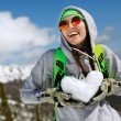 Portrait of young snowboarder girl — Stock Photo #73031043