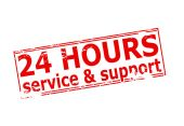 Twenty four hours service and support — Stock Vector