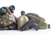 Military set with helmet, binoculars — Stock Photo