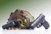 Military set with helmet, binoculars — Stock Photo